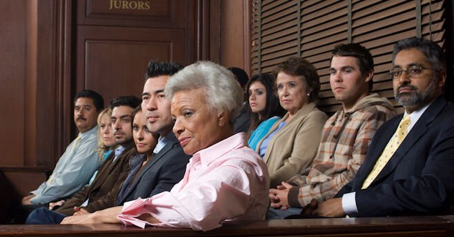 jurors in a courtroom