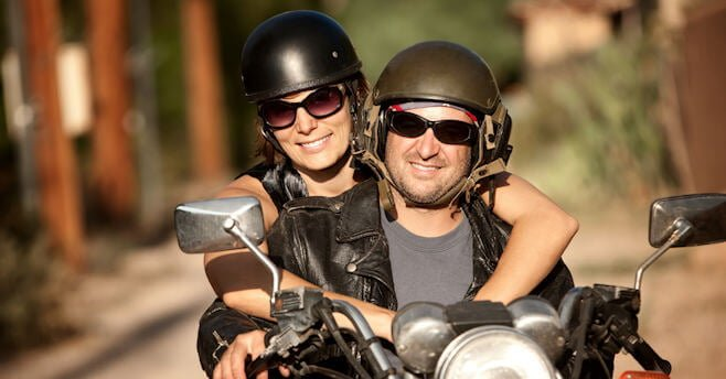 couple on a motorcycle